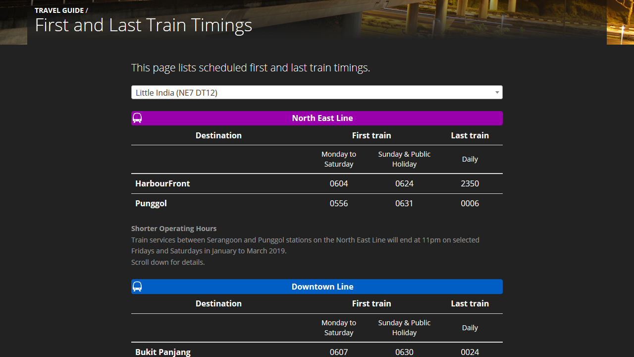 Screenshot of the last train page