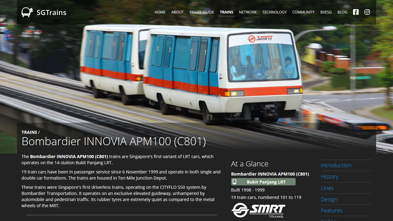 Screenshot of the rolling stock page